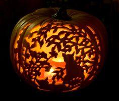 Carved Cat Pumpkin