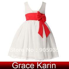 Grace Karin Vestido Daminha Bow Knot Children Flower Girls Formal Princess Ball Wedding Pageant Party Prom Dress For Kids CL4608