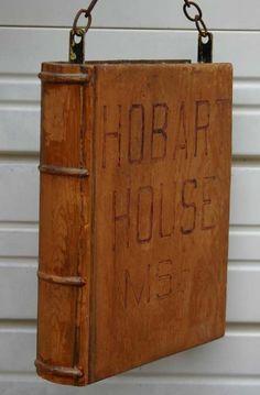 "Antique fine book form ""Hobart House"" wooden trade sign"