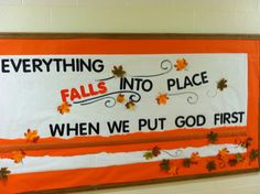 Fall autumn religious bulletin board