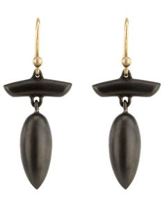 Ted Muehling Black Plate T-Bar Acorn Earrings, $375