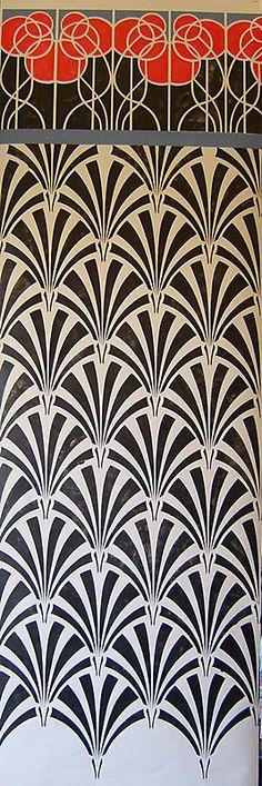 Art Deco Stencilled Banner Art Nouveau Wallpaper Wallpaper Stencil Wallpaper Ideas Stencil Art
