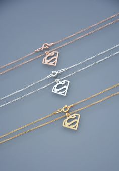 Supergirl necklace supergirl solid chain fine pendant initial medallion S Superman Marvel DC comics silver 925 or Name Necklace Silver, Dainty Diamond Necklace, Diamond Pendant, Arrow Necklace, Dc Comics, Superman Ring, Superhero Superman, Superman Stuff, Superhero Poster