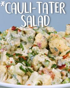 Make them do a double take when you add this crunchy surprise to the best healthy potato salad you'll ever have 🥔  #Cauli-Tater #Salad Classic Potato Salad, Cauliflower, Mashed Potatoes, Salad Recipes, Low Carb, Ethnic Recipes, Food, Whipped Potatoes, Low Carb Recipes