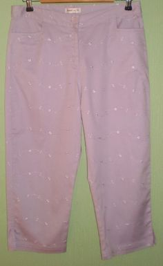 Lilac Embroidery Cropped Capri Trouser by Bonmarche, Size 14