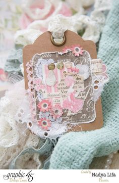 Gorgeous Botanical Tea ATC by Nadya with fabric scraps, fussy cutting and florals #graphic45