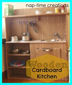 Cardboard Kitchen-for my boys - Nap-time Creations Cardboard Kitchen, Cardboard Crafts, Cardboard Playhouse, Kids Play Kitchen, Toy Kitchen, Kitchen Wood, Projects For Kids, Diy For Kids, Craft Projects