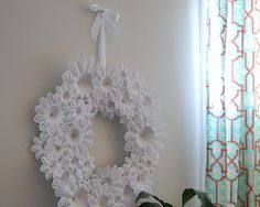 Christmas doilie wreath