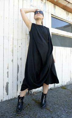 Black Maxi Dress / Loose Long Black Dress / Kaftan by Metamorphoza