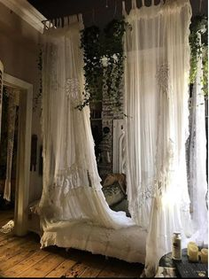 White Lace & Muslin House Gowns by Sera&Sestra. White Lace & Muslin House Gowns by Sera&Sestra. Dream Rooms, Dream Bedroom, Gypsy Bedroom, Bohemian Bedroom Decor, Whimsical Bedroom, Deco Boheme, Boho Home, Aesthetic Room Decor, Cozy Room