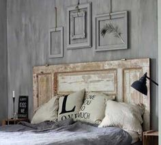 Discover 7 ideas to recycle old wooden doors and turn them into useful and decorative elements in your home. Unique Headboards, Headboards For Beds, Old Wooden Doors, Old Doors, Entry Doors, Home Bedroom, Bedroom Decor, Deco Cool, Custom Wood