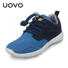 41.00$  Buy now - http://alirww.worldwells.pw/go.php?t=32604458496 - UOVO Light-weight Casual Sport Canvas Denim Elastic Lace Kids Boys Shoes Spring Footwear for Children Little Big Boys Sneakers