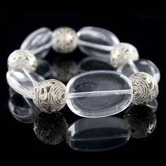 Joan Rivers Silvertone Filigree Oval Beads Stretch Bracelets  #JoanRivers #Stretch