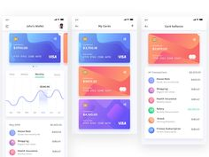 BudgetPlanner - Wallet, My Cards, & Cards Balance designed by ♒. Connect with them on Dribbble; Dashboard Mobile, Mobile App Ui, Balance Design, App Design Inspiration, Mobile Ui Design, Screen Design, Le Web, User Interface Design, Budget Planner