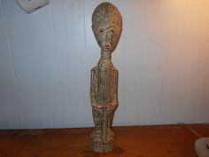 Hand Carved Wooden Man Figure Unique Decor 20' tall #primitive