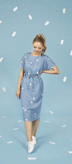 Maternity Patterns, Tilly And The Buttons, Dress Making Patterns, Lilac Dress, Easy Sewing Projects, Striped Fabrics, Blue Fabric, Playsuit, Dressmaking