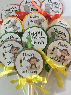 12 Safari First Birthday Cupcake Toppers.  by KipseysCardShop