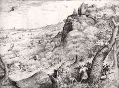 Paisagem com caça ao coelho. 1560. Gravura a água forte e gravação em cobre. Pieter Brueghel, o Velho (Breda, Países Baixos, entre 1526 e 1530 - 09/09/1569, Bruxelas, Bélgica). Publicada por Hieronymus Cock. Encontra-se no Museu Rijks, em Amsterdam, Países Baixos.