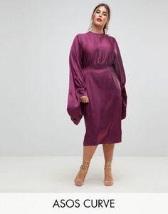 ASOS CURVE Extreme Sleeve Satin Midi Pencil Dress