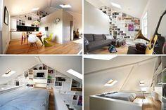 lit mezzanine 2 places dans la chambre adulte perchée au-dessus de la salle de bains