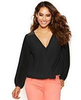 Thalia Sodi Long-Sleeve Embellished Blouson Top