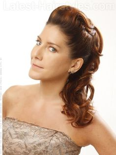 Copper Glow Long Wavy Pulled Back Look  Heavy copper highlights throughout a warm brown base create the perfect fall color! This combinations of hair colors give you a dimensional look that styles amazingly whether curled, waved, braided or straight.  Read more at http://www.latest-hairstyles.com/color/fall.html#mAdyK183ZMeoQg5Z.99