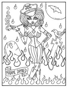 DIGITAL Coloring book Glamour Ghouls pin ups adult coloring Barbie Coloring Pages, Halloween Coloring Pages, Printable Adult Coloring Pages, Coloring Pages For Girls, Coloring Books, Coloring Sheets, Fairy Coloring, Misfits Halloween, Chat Halloween