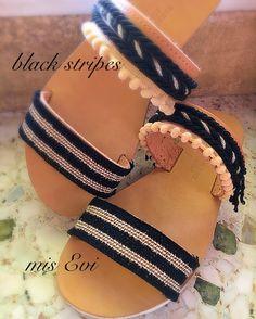 Black stripes!!!! Handmade leather sandals Greek Sandals, Handmade Leather, Black Stripes, Leather Sandals, Fashion Beauty, Slip On, Diy, Shoes, Style