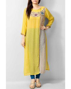 Yellow Cotton Ladies Kurti by PakRobe.com