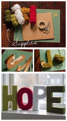 cardboard letters and yarn