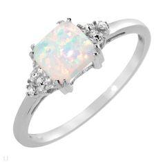 Created Opal Natural Diamond Ring IN 14K WG SZ 7 O | eBay