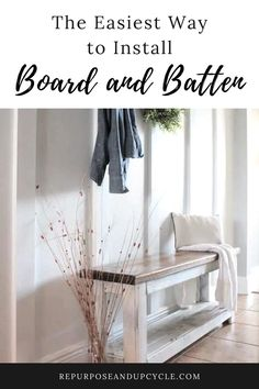 I'm no stranger to creating my own DIY board and batten. Currently, I'm knee deep in a DIY built in bookshelf feature wall and trying to figure out what to do about the fact that my boards stick out over the baseboard like a sore thumb. I have two options; remove the old baseboard or find a way to blend the end of the boards with the old baseboard. Let me show you a simple way to install board and batten or any wainscoting without removing the baseboards. Apartment Entryway, Entryway Decor, Entryway Ideas, Entry Foyer, Hallway Ideas, Front Entry, Coastal Entryway, Hallway Designs, Modern Entryway