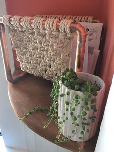 Industrial Copper and Macrame Mail Organizer / Desk Tidy /