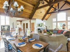 The great room's vaulted ceiling with wooden beams at 213 Ocean Marsh Road on #Kiawah Island (available for sale as of 06.09.16) #LuxuryRealEstate