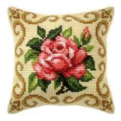 Orchidea Red Rose Pillow Cover Needlepoint Kit $34.99