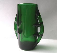 Vintage Pressed Glass Vase Designed By Eryka Trzewik-Drost c1969.