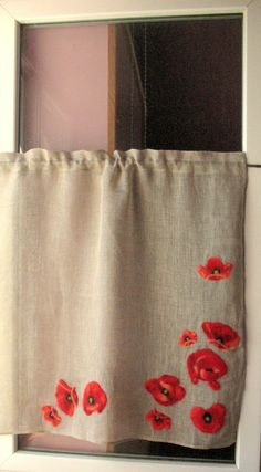 Curtain Burlap Curtains Cafe Curtains Natural Gray Red Poppy Linen Curtains Kitchen Curtains Shabby Chic Curtains Panels by Initasworks on Etsy https://www.etsy.com/listing/258230164/curtain-burlap-curtains-cafe-curtains