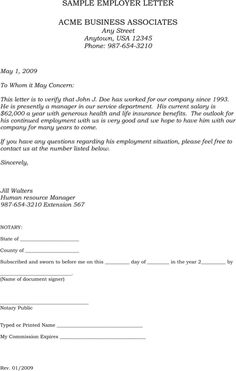 Sample Employment Verification Letter For Excel, PDF And Word