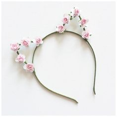 Pastel Pink Rose Cat Ears Headband by CandyFlowerUK on Etsy