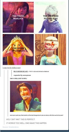 Hahahahahahahahahhahahahahahahha I love the perfectness of this   Merlin   ROTG   Brave   HTTYD   Tangled