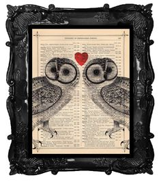 Awww... Such a neat idea to paint or print on old newspaper or book pages. Love the frame too.