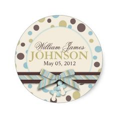 Blue and Sage Polka Dots Announcement Round Stickers