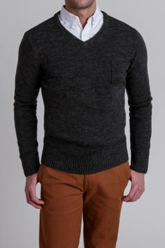 Copper pants and charcoal sweater