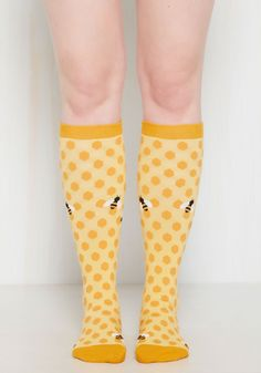 My Honey's On You Socks. Youre willing to bet everyone will be abuzz with compliments for you flaunting these yellow socks! #yellow #modcloth