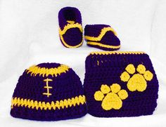 Crochet Lsu Football Hat shoes diaper cover by BitofWhimsyCrochet, $53.99