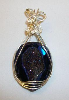 Dark Blue Purple hued Titanium Agate Druzy by JoaniesCreations, $50.00