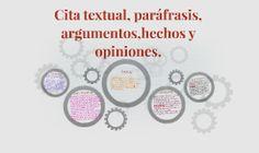 Cita textual, paráfrasis, argumentos,hechos y opiniones.