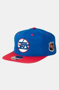 Men's American Needle 'Winnepeg Jets - Blockhead' Snapback Hockey Cap - Blue Caps Game, Flat Cap, Top Gear, Cool Hats, Vans Classic, Headgear, Hats For Men, Baseball Cap, Snapback