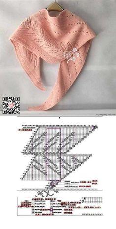 Knitting Short Rows, Lace Knitting, Knitting Stitches, Knit Crochet, Crochet Shawls And Wraps, Knitted Shawls, Fashion Sewing, Crochet Fashion, Lace Scarf