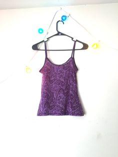 90s / vtg / sheer / paisley / tank top / purple by CrusaderVintage